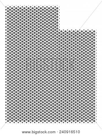 Schematic Utah State Map. Vector Halftone Geographical Scheme. Silver Dot Cartographic Composition.
