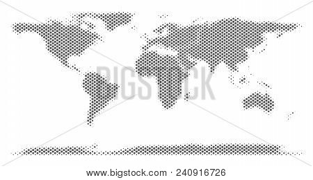 Schematic World Continent Map. Vector Halftone Territory Abstraction. Silver Dotted Cartographic Con