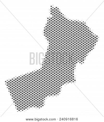 Schematic Yemen Map. Vector Halftone Geographical Abstraction. Silver Pixelated Cartographic Composi