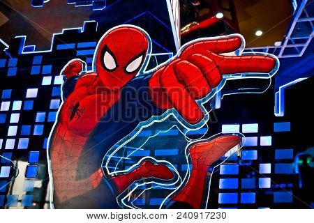 Moscow, Russia - March, 2018: Close Up Face Of Famous Super Hero Spiderman In The Shop Printed On Pa