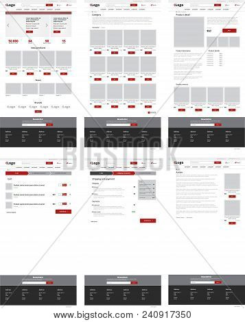 Ecommerce Website Template, Set Of Six Web Pages. Flat Design Layout