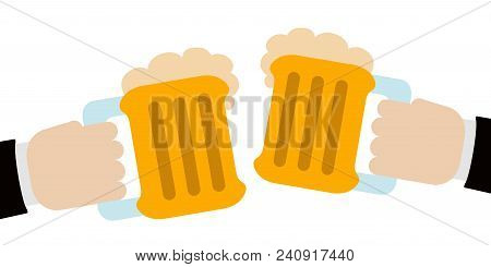 Pair Of Hands Holding A Pair Of Beers. Vector Illustration Design