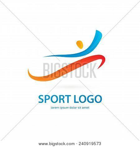 Vector Design Logo Sport Silhouette. Man Pictogram, Active Lifestyle Abstract Icon