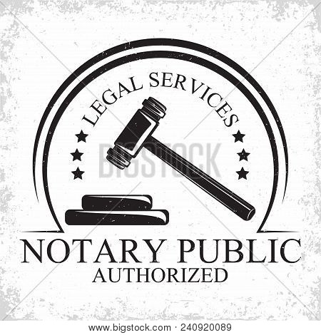 Law Firm Logo Design, Emblem Of Lawyer Agency Or Notary, Vintage Court Logo Or Typography Emblem, Ve