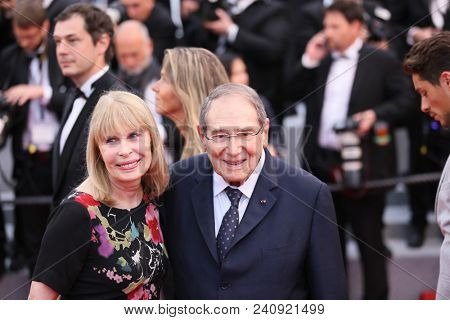 Candice Patou and Robert Hossein attend the screening of 'Burning' during the 71st  Cannes Film Festival at Palais des Festivals on May 16, 2018 in Cannes, France.