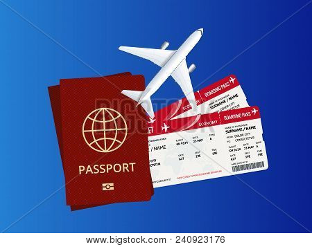 Travel And Tourism Background. Buying Or Booking Online Tickets. Travel, Business Flights Worldwide.