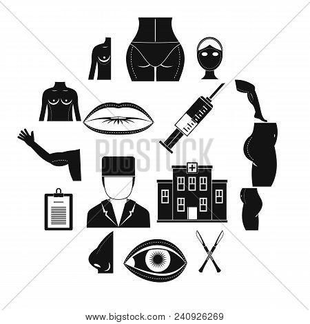 Plastic Surgeon Icons Set. Simple Illustration Of 16 Plastic Surgeon Vector Icons For Web