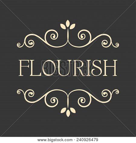 Decorative Frames. Flourish Page Dividers, Swirls, Calligraphic Filigree Design Element. Scroll Eleg