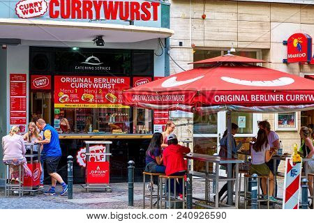 Berlin, Germany - June 10 2017: A Vending Stall With Outside Tables Of The Latest Fastfood Craze In