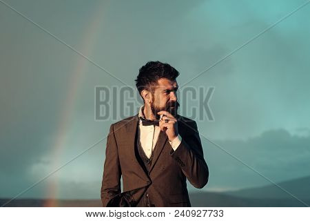 Guy With Strict Face In Suit Feels Free And Successful. Successful Man With Scenery On Background. H
