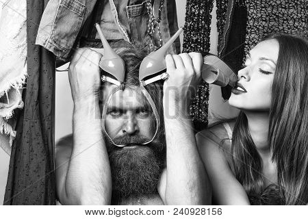 Fashion Couple Denuded Tired Of Brunette Girl With Long Hair And Bearded Man With Green High Heels S