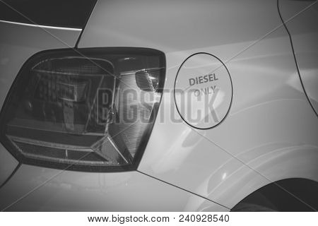 Petrol Tank White Car With Inscription Only Diesel. Fuel And Refueling Concept. Fuel Tank Cap, Car B