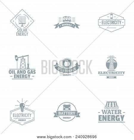 Alternative Power Logo Set. Simple Set Of 9 Alternative Power Vector Logo For Web Isolated On White