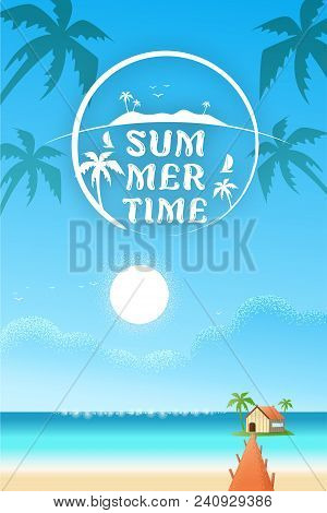 Beach Sea With Villa Beautiful Vertical Hotel Seaside Concept Text For Travel Agents. Summer Offers