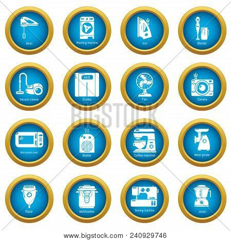 Domestic Appliances Icons Set. Simple Illustration Of 16 Domestic Appliances Vector Icons For Web
