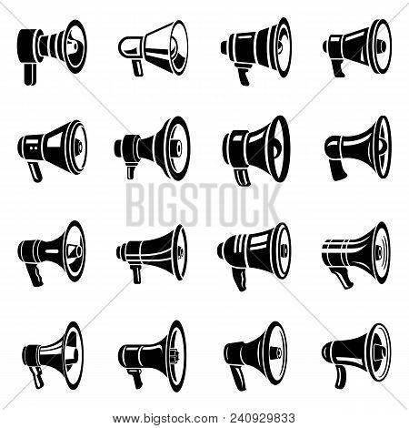 Megaphone Loud Speaker Icons Set. Simple Illustration Of 16 Megaphone Loud Speaker Alcohol Logo Vect