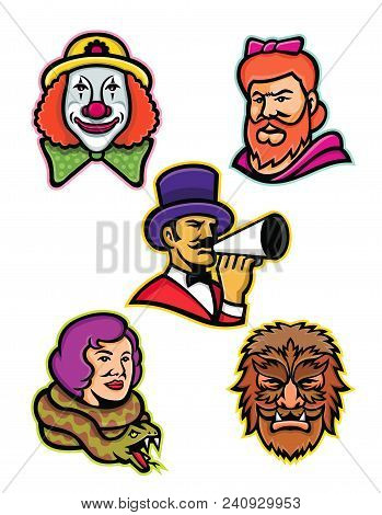 Mascot Icon Illustration Set Of Heads Of Circus Performers And Freaks Like The Bearded Lady Or Woman