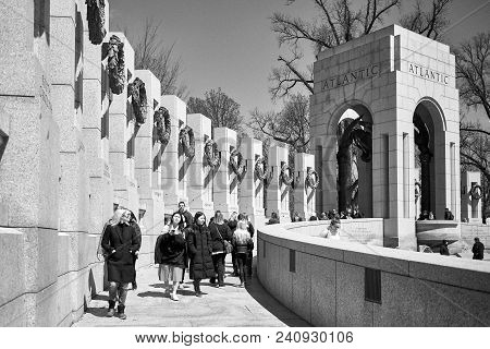 Washington Dc, Usa - April 2018: World World Ii Memorial Atlantic Section In Black And White. Each P