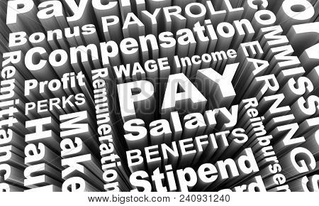 Pay Income Earning Wage Salary Work Words 3d Render Illustration poster