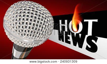 Hot News Microphone Big Update Announcement Words 3d Render Illustration