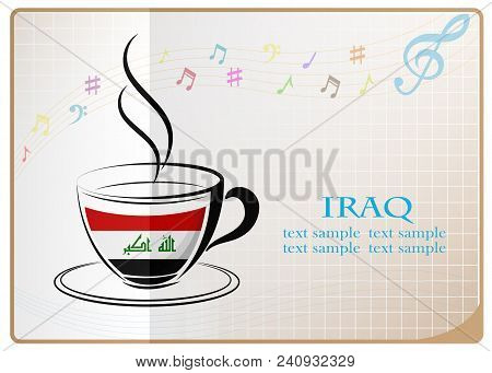 Coffee Logo Made From The Flag Of Iraq