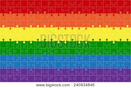 Background Lgbt Flag. Lgbt Puzzle Symbol. Rainbow. Lesbian Gay Bisexual Transgender. Flag Puzzle Sym