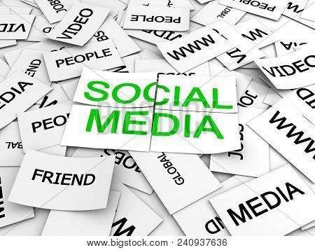 Social Media Text. Conceptual Image. 3d Image Renderer