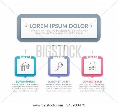 Infographic Template With Main Title And 3 Steps Or Options, Workflow, Process Chart, Vector Eps10 I