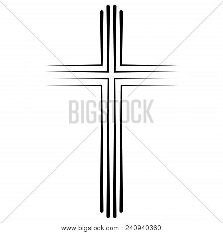 Christian Catholic Cross Icon In Flat Design, Vector Cross Icon Baptism. Abstract Linear Christian C