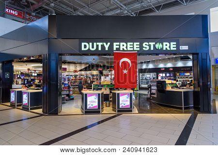 Antalya, Turkey - April 23, 2018: Duty Free Shop In Departure Terminal At International Airport, Ant