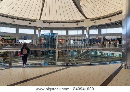 Antalya, Turkey - April 23, 2018: Departure Terminal At International Airport, Antalya Havalimani