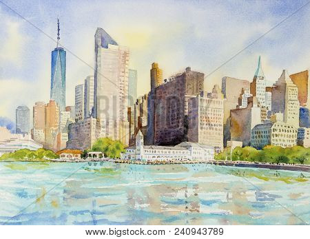 Manhattan Urban Skyscrapers In New York City. Architecture Line Skyline Illustration. Watercolor Pai