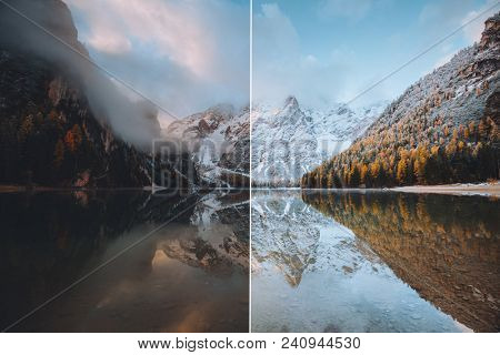 Calm alpine lake Braies. Location Dolomiti, national park Fanes-Sennes-Braies, Italian Alps, Europe. Images before and after. Original or retouch. Photo in half of editing process. Beauty of earth. poster
