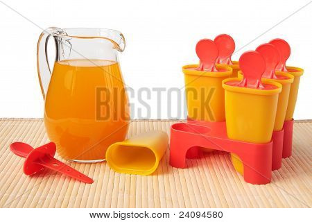 Multifruit Juice In A Jug And A Form For Freezing