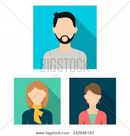 Avatar And Face Flat Icons In Set Collection For Design. A Person Appearance Vector Symbol Stock Ill