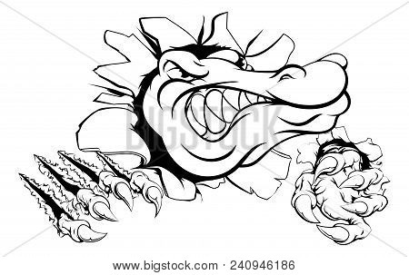 A Cartoon Alligator Or Crocodile Smashing Through A Wall With Claws And Head