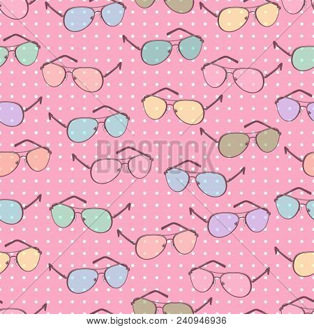 Colorful Sunglasses Seamless Pattern, Vector Accessory Background. Cartoon Drawing Multicolored Past