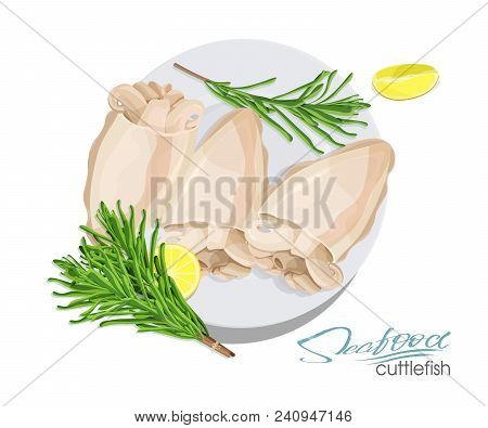 Illustration Of A Dish Of Cuttlefish With Lemon And Rosemary On A Plate. Cuttlefish Cooked. Icon, Lo