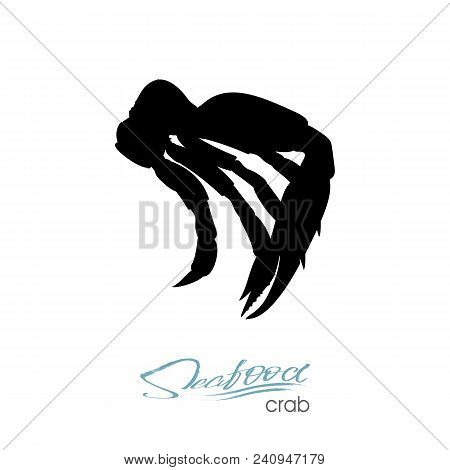 Silhouette Crab Meat. Crab Badge For Design Seafood Packaging And Market, Food Packaging Or Underwat
