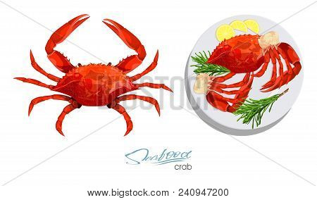 Crab Isolated On White Background. Meat Crab With Rosemary And Lemon On The Plate.vector Illustratio