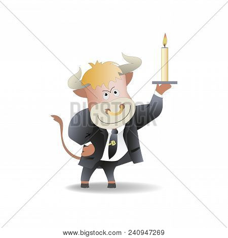 Bull Businessman With A Candle. The Trader. Cryptography, An Illustration Of Financial Technologies,