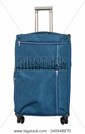 Turquoise Travel Suitcase On Four Wheels On White Background. Isolate. Voyage With Big Suitcase