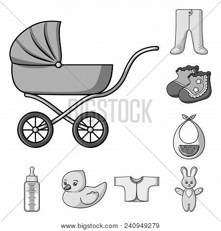 Birth Of A Baby Monochrome Icons In Set Collection For Design. Newborn And Accessories Vector Symbol