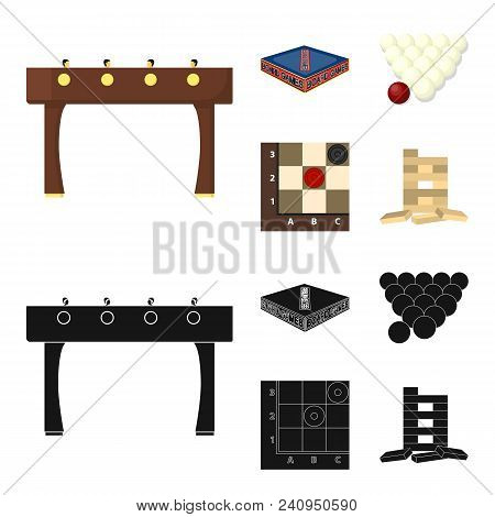 Board Game Cartoon, Black Icons In Set Collection For Design. Game And Entertainment Vector Symbol S