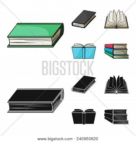 Various Kinds Of Books. Books Set Collection Icons In Cartoon, Black Style Vector Symbol Stock Illus