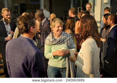 Diverse people mingling at an event