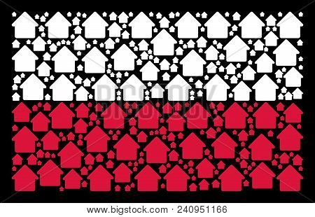 Poland Flag Composition Designed With Cabin Design Elements. Flat Vector Cabin Symbols Are Combined