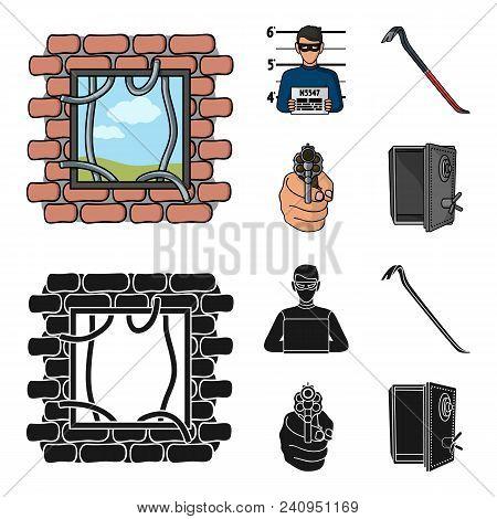 Photo Of Criminal, Scrap, Open Safe, Directional Gun.crime Set Collection Icons In Cartoon, Black St
