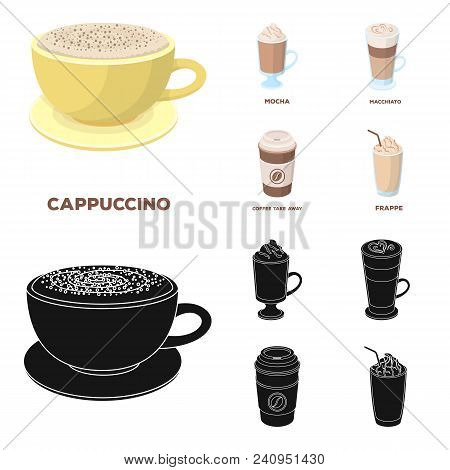 Mocha, Macchiato, Frappe, Take Coffee.different Types Of Coffee Set Collection Icons In Cartoon, Bla