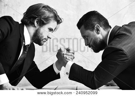 Arm Wrestling Of Businessman And Compete Man, Co Workers And Dominance